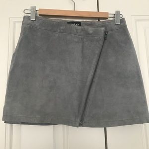 BEBE Suade Gray Assymetric Zip Mini Skirt S